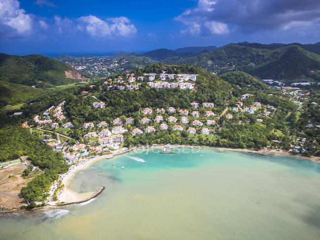 Caraïbes, Sainte-Lucie, Choc Bay, photo aérienne de Calabash Cove Resort — Photo de stock