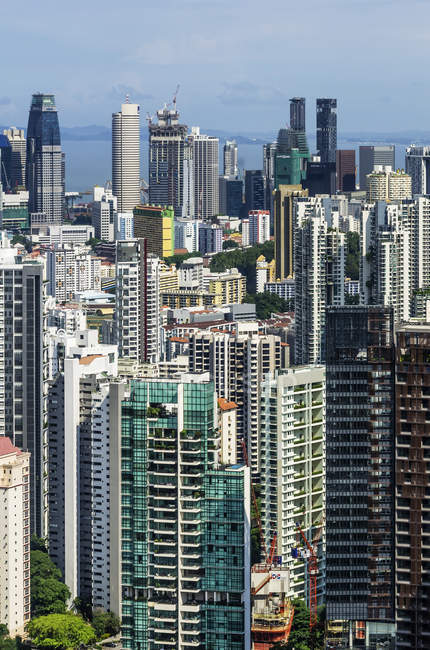 Vista de paisaje aéreo de Singapur - foto de stock