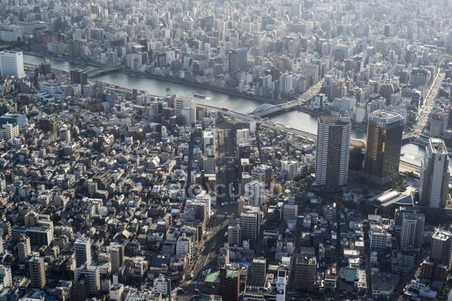View towards Asakusa and Sumida river, Tokyo, Japan — Stock Photo