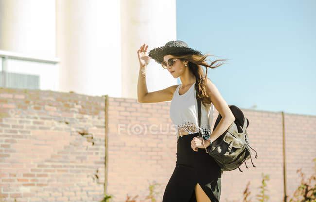 Young woman wearing boho style — Stock Photo
