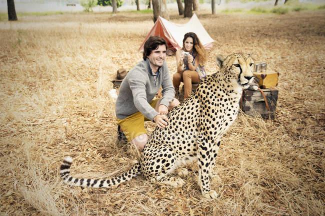 Південна Африка, людина Петтінг ручними Гепард на луг з жінкою у фоновому режимі — стокове фото