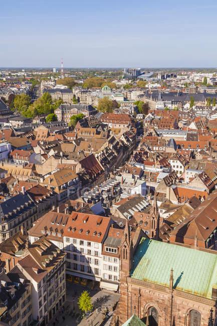 Frankreich, Elsass, Straßburg, Blick über Altstadt, Europaviertel — Stockfoto