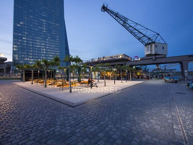 Alemanha, Hesse, Frankfurt, Ostende, bar e Banco Central Europeu — Fotografia de Stock