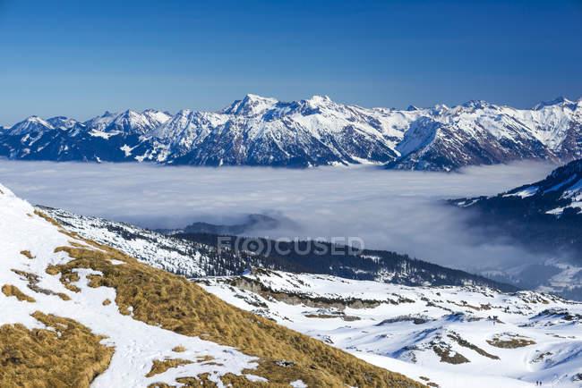 Austria, Vorarlberg, Little Walser Valley, Veduta dell'altopiano del Gottesacker, Alpi Allgaeu sullo sfondo — Foto stock