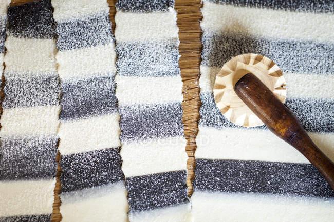 Смугастий домашню пасту, частково кольорові чорнила каракатиць — стокове фото