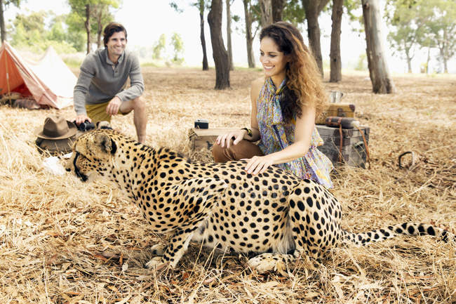 South Africa, woman petting tame cheetah on meadow with man in background — Stock Photo