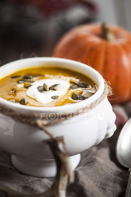Schüssel mit Hokkaido Suppe mit Sauerrahm und Kürbiskernen — Stockfoto