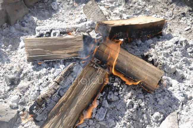 Burning log outdoors , close up — Stock Photo