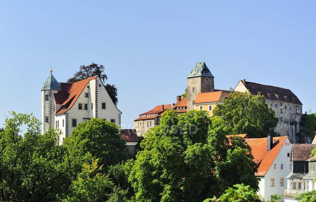 Deutschland, sachsen, hohnstein, burg hohnstein umgeben von bäumen — Stockfoto