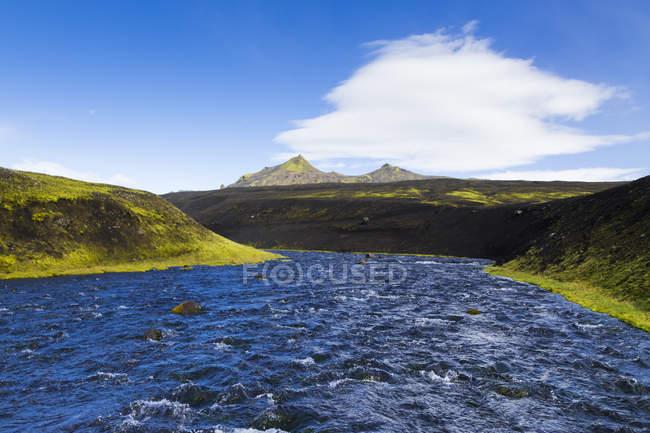 Исландия, Sudurland, Skafta река в регионе Kirkjubaerklaustur — стоковое фото