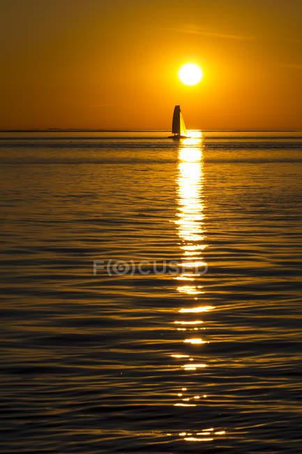 Allemagne, Bremerhaven, Weser, voilier au coucher du soleil — Photo de stock