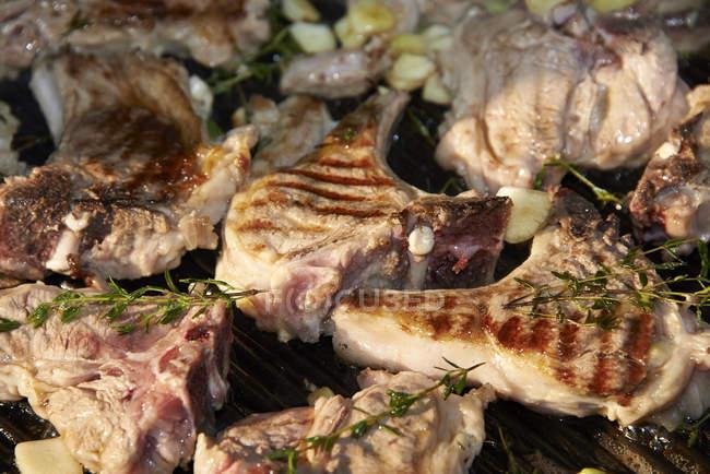 Costolette di agnello con thmye sulla griglia del barbecue, close-up — Foto stock