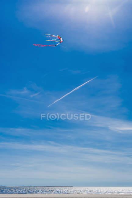 Danemark, Romo, cerf-volant dans le ciel à la mer du Nord pendant la journée — Photo de stock