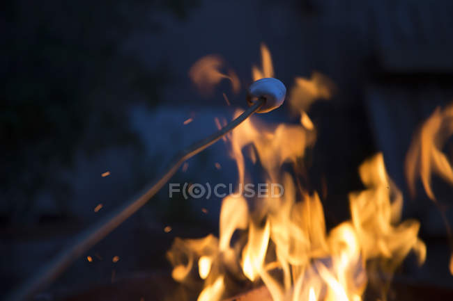 Bonfire and skewer with marshmallow at night — Stock Photo