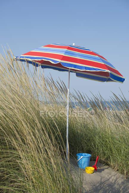 Італія, Адріатичного, відро і лопатою під шезлонгів на піщаній дюні з трави — стокове фото