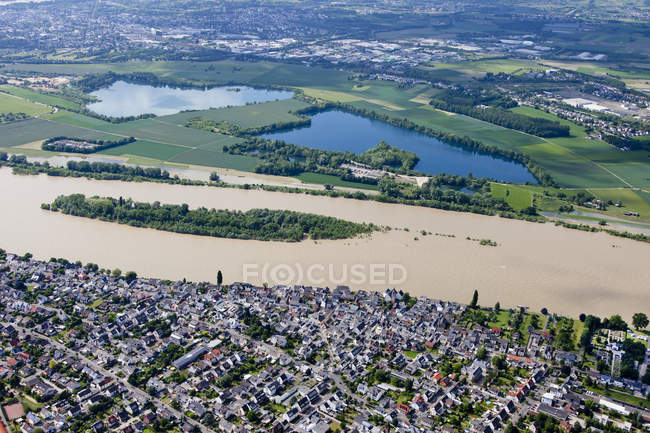 Aerial view of high water of River Rhine at Urmitz, Rhineland-Palatinate, Germany — Stock Photo