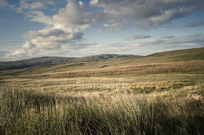 Colline, Gras e cielo blu con nuvole, Paesaggio vicino a Loch Brittle, Isola di Skye, Scozia — Foto stock