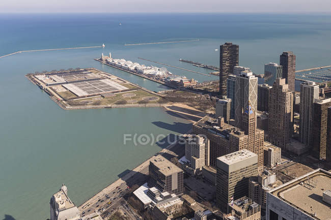 Blick vom John Hancock Tower und Lake Michigan in Chicago, Illinois, Usa — Stockfoto