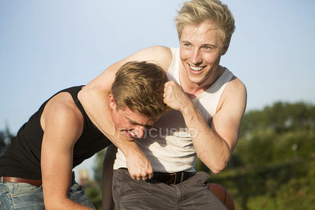 Two friends having fun — Stock Photo