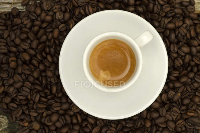 Close-up of Cup of espresso on coffee beans — Stock Photo