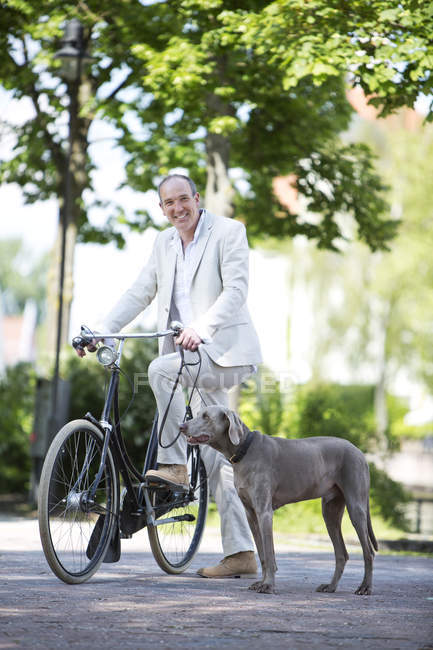 Portrait of mature man with Weimaraner dog and bicycle, smiling — Stock Photo