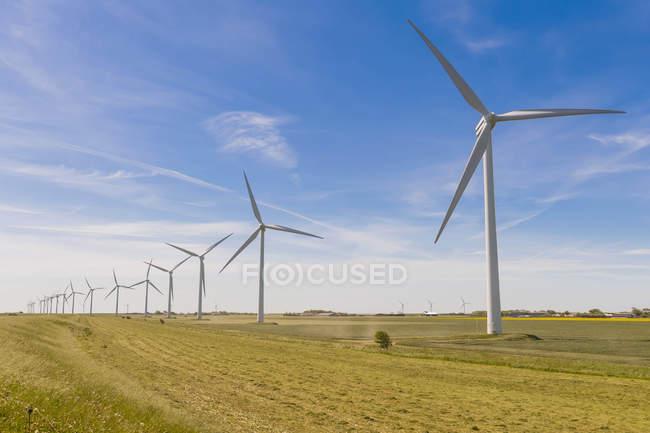 Alemanha, Schleswig-Holstein, Vista da turbina eólica em campos — Fotografia de Stock