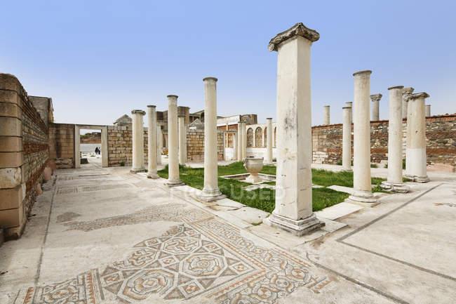 Turkey, Sardis, View of Sardis synagogue with mosaic floor — Stock Photo