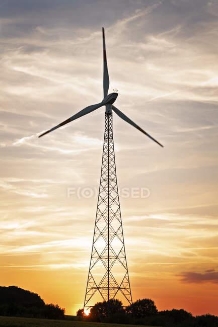 Allemagne, Basse-Saxe, Gesold, roue à vent au coucher du soleil — Photo de stock