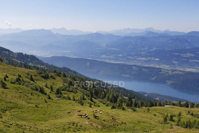 Austria, Carinzia, Nock Mountains, Millstaetter Alpe, vista su Millstaetter See — Foto stock