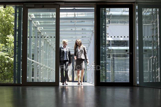 Два предпринимателей, говорить в офисное здание — стоковое фото