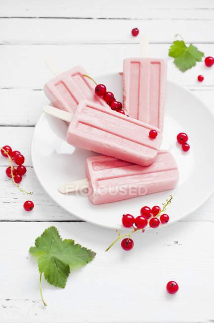 Фруктовый лед из красной смородины с свежей красной смородины на белый деревянный стол — стоковое фото