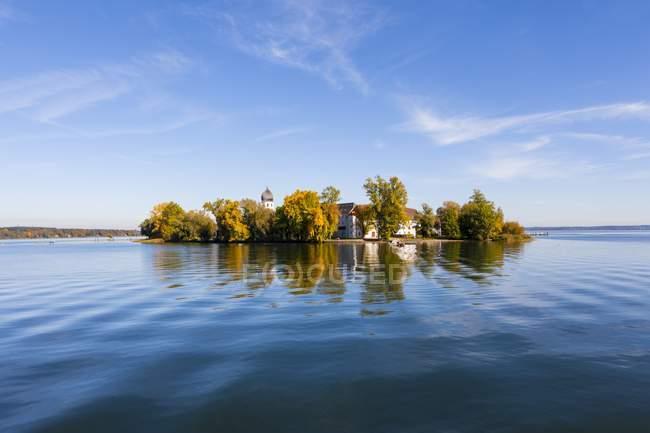 Germany, Bavaria, Upper Bavaria, Chiemgau, View of Frauenchiemsee Island — Stock Photo