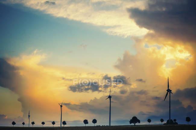 Германия, Саксония, Мюлдентал, Вид ветропарка в поле — стоковое фото