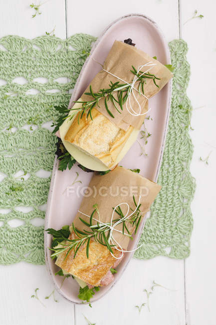 Baguette sandwiches on serving plate over green cloth — Stock Photo