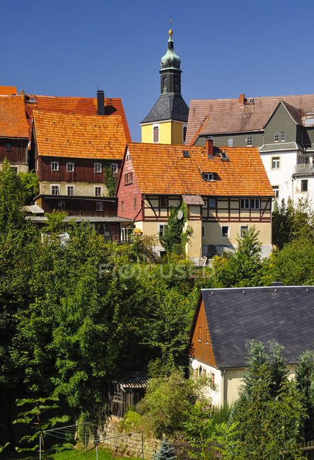 Allemagne, Saxe, Hohnstein, Paysage urbain avec église paroissiale et arbres verts au soleil — Photo de stock