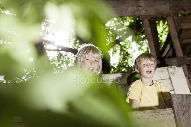 Мальчики играют на детской площадке в домике на дереве — стоковое фото
