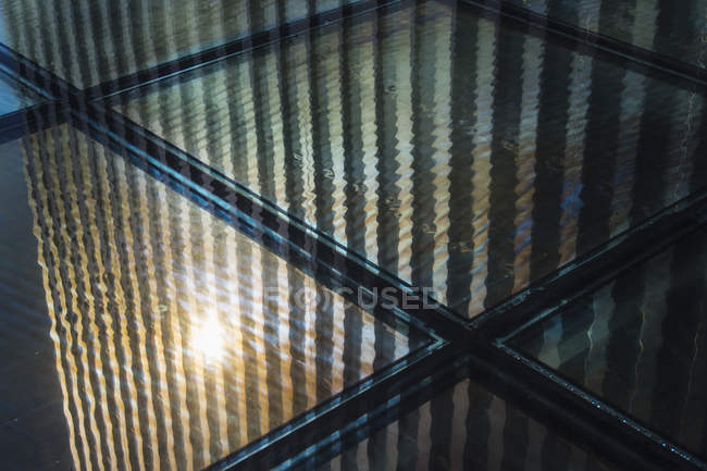 Germany, North Rhine Westphalia, Duesseldorf, Reflection of Media harbour building, close up — Stock Photo