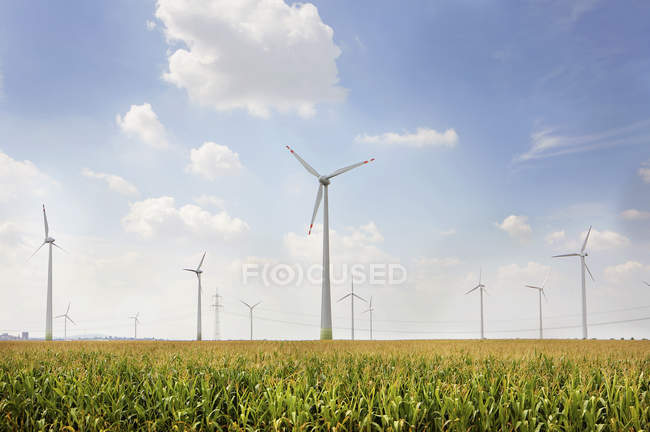 Germany, View of wind turbine on field — Stock Photo