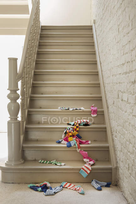 Socks fallen on staircase indoors — Stock Photo