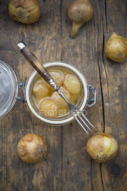 Cipolline in conservazione del vaso su legno scuro con ingredienti — Foto stock