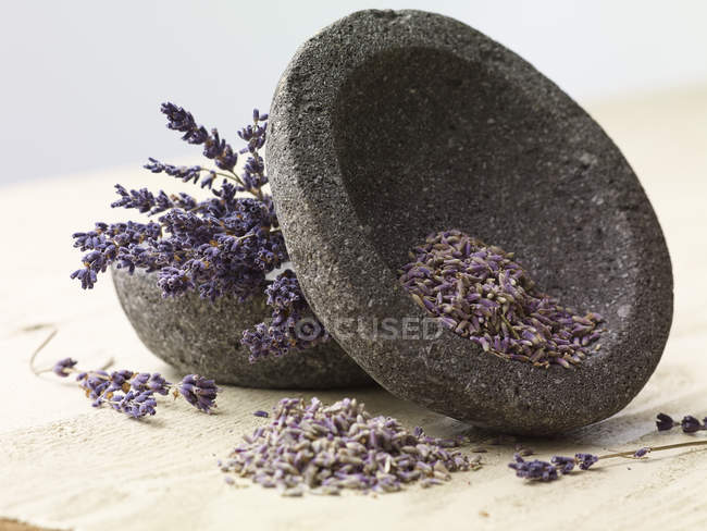 Two stone bowls of lavender closeup view — Stock Photo