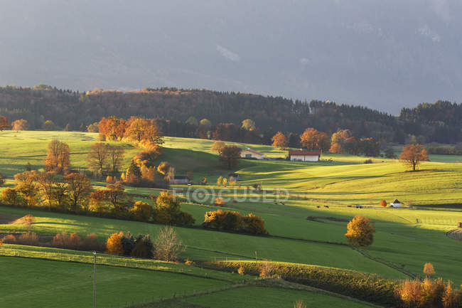 Германия, Бавария, Верхняя Бавария, Пфаффенвинкель, муниципалитет Ригзе и альпийские предгорья на заднем плане — стоковое фото