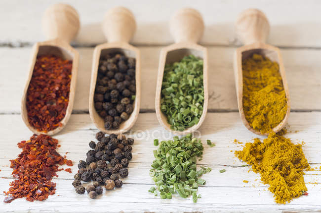 Shovesl with spices, chilli powder, black pepper, dried chieves and curry — Stock Photo