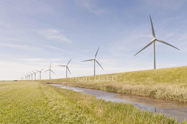 Alemanha, Schleswig-Holstein, Vista de turbinas eólicas em campo verde — Fotografia de Stock