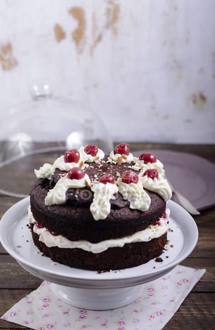 Шоколадний торт заповнені і гарнір з вишні і крем на стенді торт — стокове фото