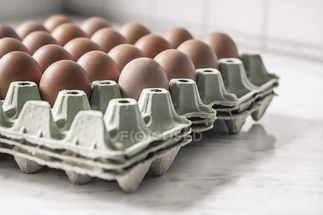 Палитра коробки с коричневые яйца на белый мрамор — стоковое фото