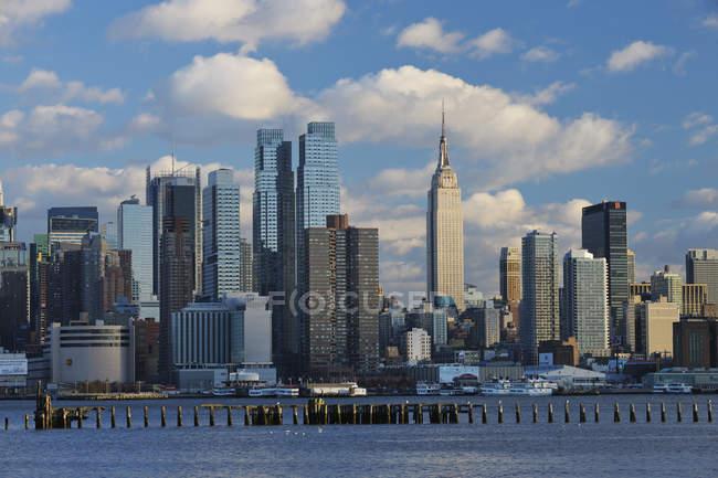 Vista de Manhattan com o rio Hudson, Nova York, estado de Nova Iorque, EUA — Fotografia de Stock