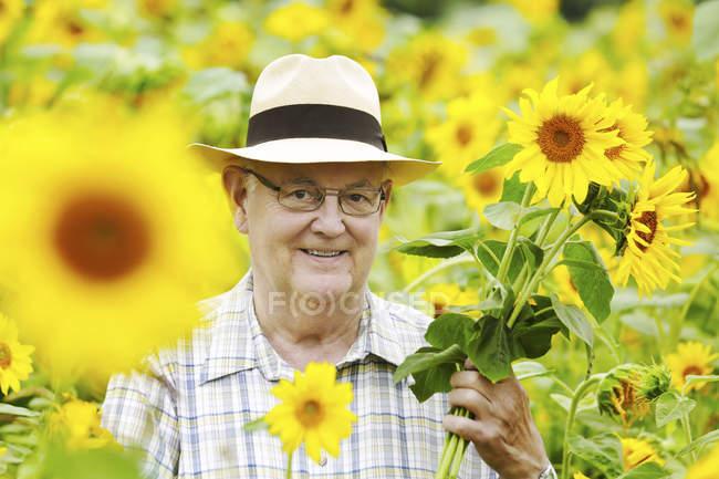 Senior sorridente com girassóis no campo — Fotografia de Stock