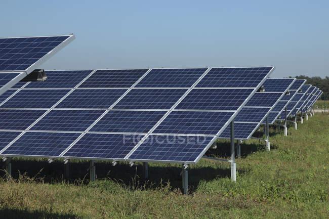 Сонячні батареї на траві проти неба — стокове фото