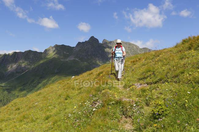 Австрія Каринтія, Карнійські Альпи, жіночий мандрівного в горах — стокове фото